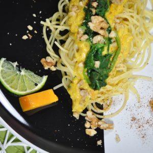 Geschmorter Butternuss Kürbis pikant gefüllt - kürbisspagetti - 17