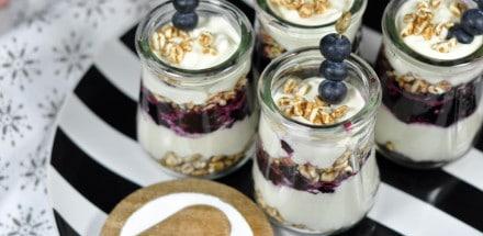 Hüttenkäse Heidelbeere Dessert im Winter - heidelbeer hüttenkäse - 5
