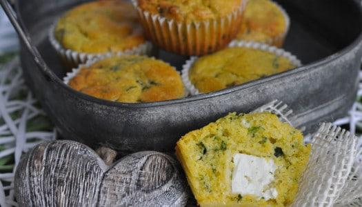 Polenta Bärlauch Muffins mit Feta Kern