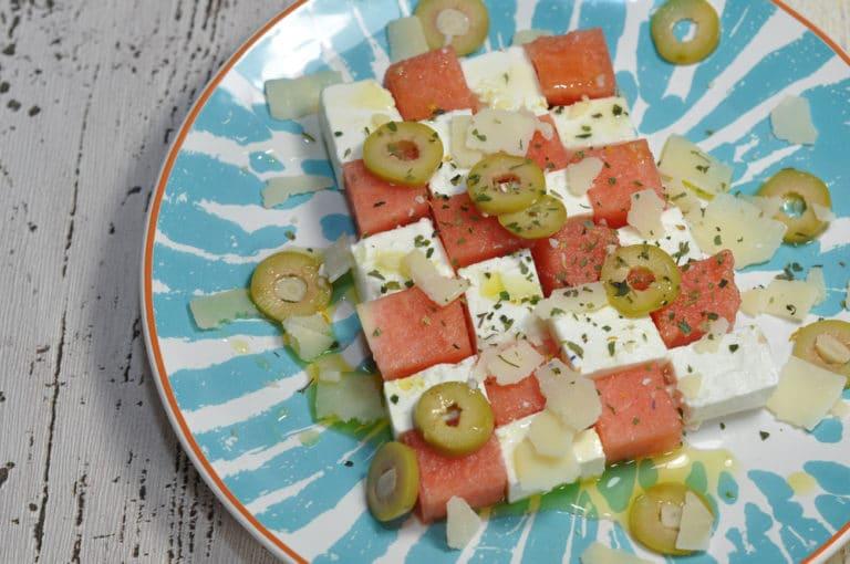 Melonen Feta Sommersalat - melonen feta salat 2 - 4