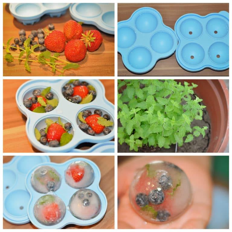 Fruchtige Erdbeer-Melonen Bowle - eiswürfel collage - 5
