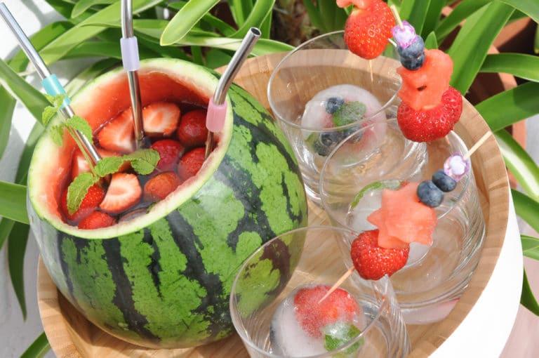 Fruchtige Erdbeer-Melonen Bowle - erdbeer melonen bowle - 7