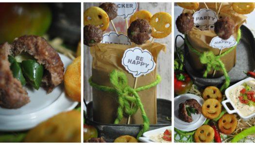 gefüllte Beef Balls mit Kartoffel Smiles – ein Partyklassiker