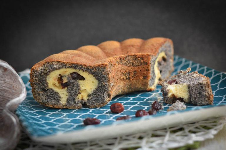 Topfen Mohn Kuchen mit Cranberries