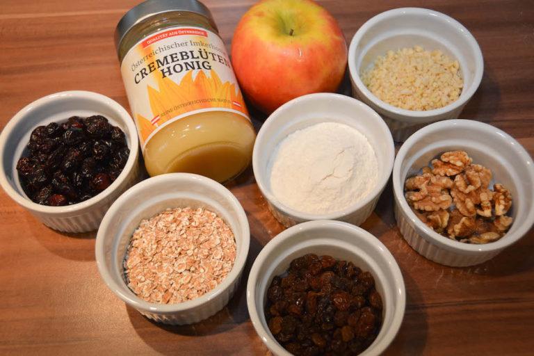 Zutaten für gesunde Müsliriegel