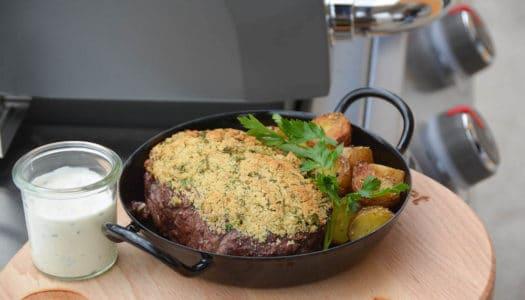 Roastbeef mit Senf-Kräuterkruste vom Grill