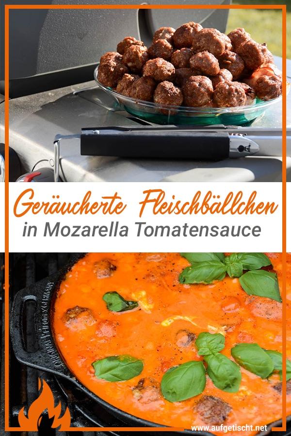 Geräucherte Fleischbällchen in Mozzarella Tomatensauce vom Dutch Oven