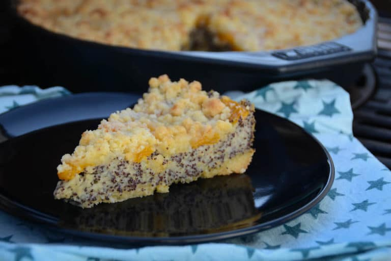 Mohn Pudding Crumble vom Grill