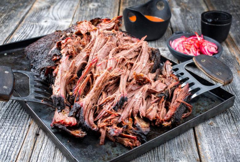 Pulled Pork mit schönem Rauchrand