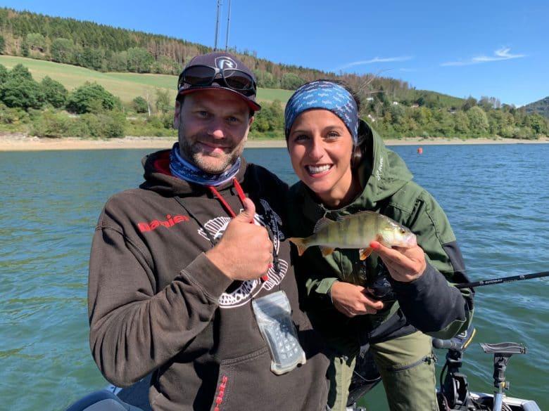 Barsch Angeln am Diemelsee mit Claudia Darga
