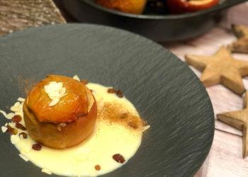 Bratapfel / Bratäpfel vom Grill mit Vanillesauce