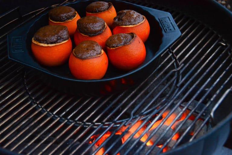 Schokokuchen aus der Orangenschale - Indirekt Grillen