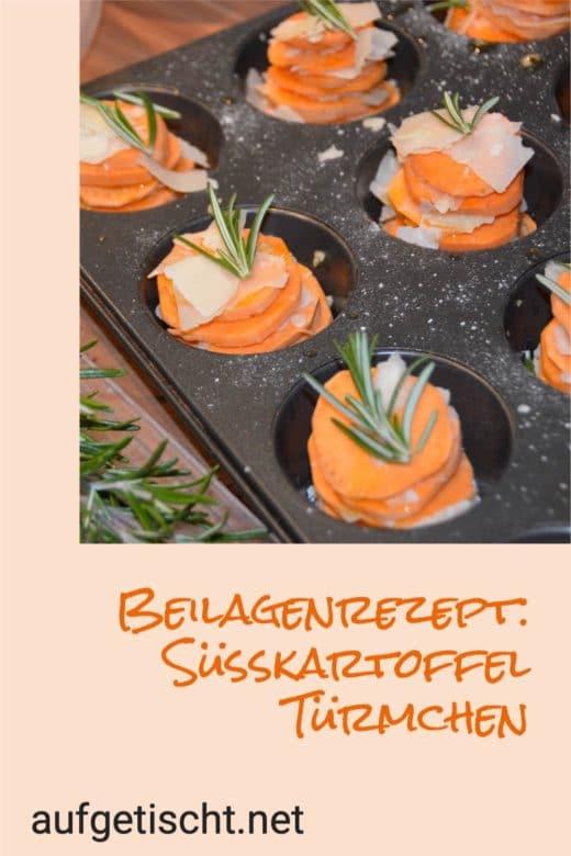 Das Rezept für die Süßkartoffel Türmchen auf Pinterest pinnen