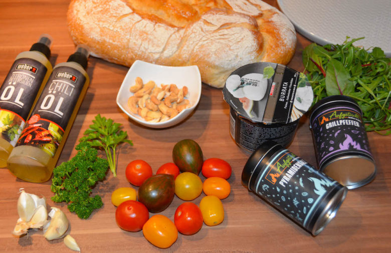 Zutaten für leckeres Burrata als Vorspeise