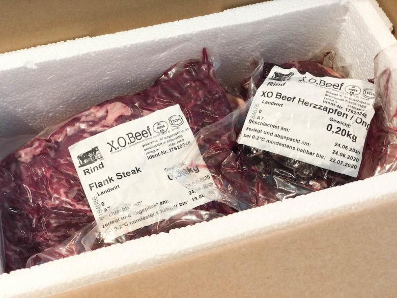 Fleisch online kaufen - Flank Steak & Herzzapfen von der alten Kuh