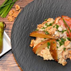 Pilzrisotto mit Karamell Birnen