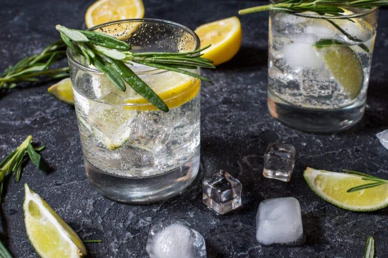 Spirituosen - Gin Tonic mit frischen Zitronen und Rosmarinnote